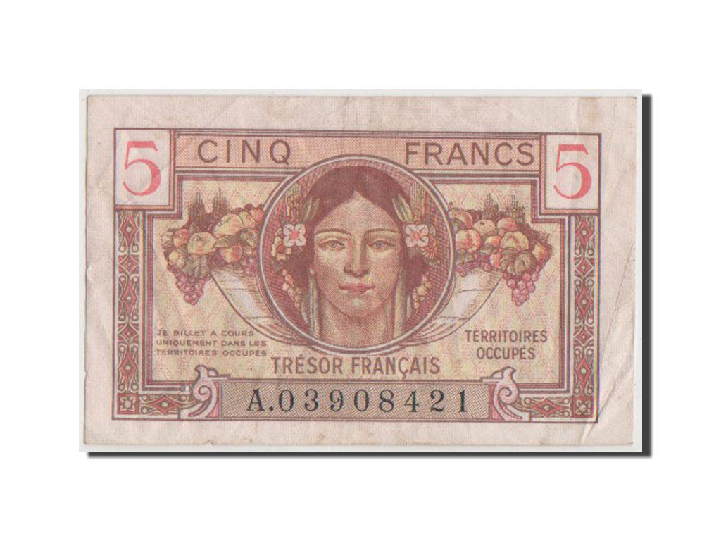 France, 5 Francs, 1947 French Treasury, 1947, KM #M6a, VF(20-25), A.03908421,...
