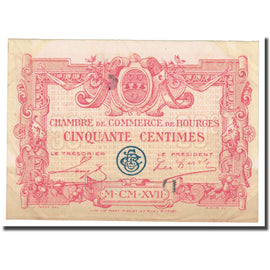 France, Bourges, 50 Centimes, 1917, Chambre de Commerce, EF(40-45), Pirot:32-8