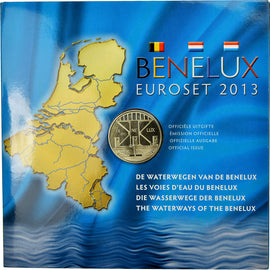 Belgium, 1 Cent to 2 Euro, Benelux, 2013, MS(65-70)
