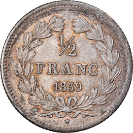 Coin, France, Louis-Philippe, 1/2 Franc, 1839, Paris, AU(50-53), Silver