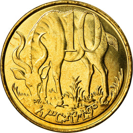 Coin, Ethiopia, 10 Cents, 2004, MS(64), Brass plated steel, KM:45.3