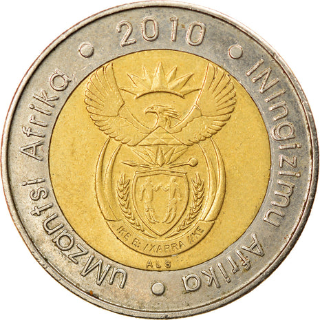 Coin, South Africa, 5 Rand, 2010, Pretoria, EF(40-45), Bi-Metallic, KM:499