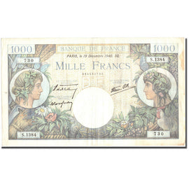 France, 1000 Francs, 1 000 F 1940-1944 ''Commerce et Industrie'', 1940
