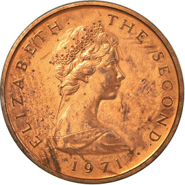 Coin, Isle of Man, Elizabeth II, 1/2 New Penny, 1971, AU(55-58), Bronze, KM:19