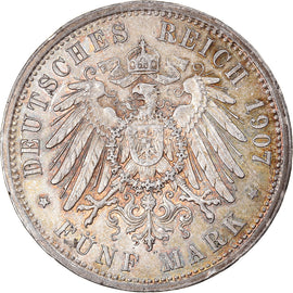 Coin, German States, PRUSSIA, Wilhelm II, 5 Mark, 1907, Berlin, AU(55-58)
