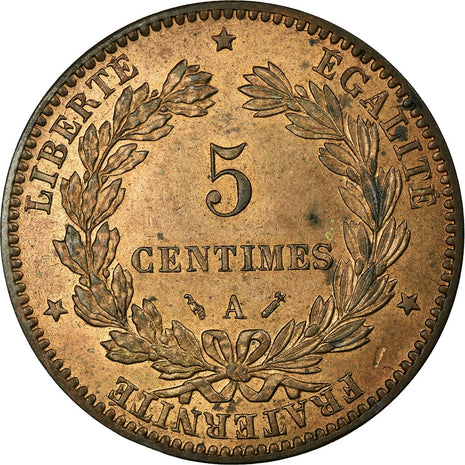 Coin, France, Cérès, 5 Centimes, 1881, Paris, MS(60-62), Bronze, Gadoury:157a