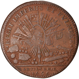France, Token, Louis XIV, Artillerie, 1696, VF(30-35), Copper, Feuardent:1004