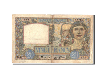 Banknote, France, 20 Francs, 20 F 1939-1942 ''Science et Travail'', 1941