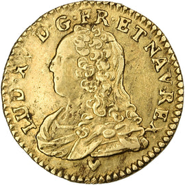 Coin, France, 1/2 Louis d'or, 1731, Strasbourg, EF(40-45), Gold, Gadoury:329
