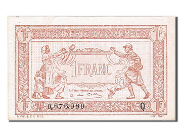 Banknote, France, 1 Franc, 1917-1919 Army Treasury, 1919, AU(50-53), Fayette:VF