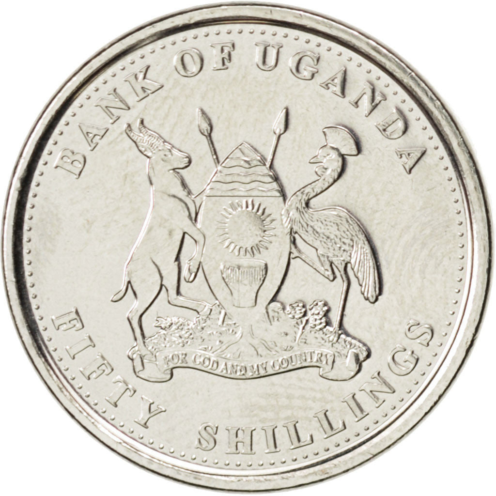 Coin, Uganda, 50 Shillings, 2012, MS(63), Nickel plated steel, KM:New