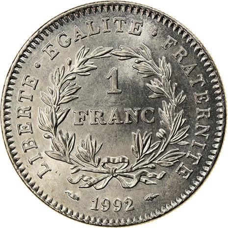 Coin, France, République, Franc, 1992, Paris, MS(63), Nickel, KM:1004.1
