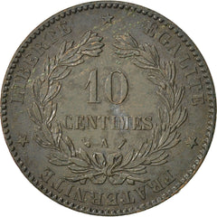 FRANCE, Cérès, 10 Centimes, 1888, Paris, KM #815.1, EF(40-45), Bronze, Gadoury #