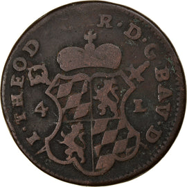 Coin, LIEGE, John Theodore, 4 Liards, 1751, Liege, VF(20-25), Copper, KM:159