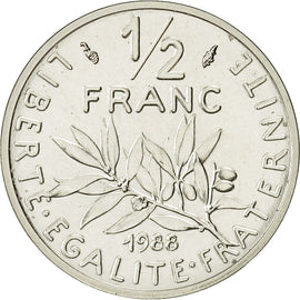 Coin, France, 1/2 Franc, 1988, MS(65-70), Silver, Gadoury:91.P2