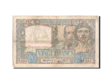 Banknote, France, 20 Francs, 20 F 1939-1942 ''Science et Travail'', 1940