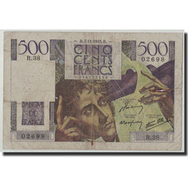 France, 500 Francs Chateaubriand, KM:129a, Fay:34.3, 1945-11-07, VG(8-10)