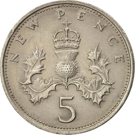 Coin, Great Britain, Elizabeth II, 5 New Pence, 1970, EF(40-45), Copper-nickel