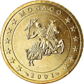 Monaco, 50 Euro Cent, 2001, MS(63), Brass, KM:172