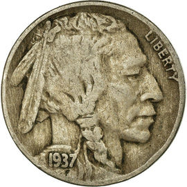 Coin, United States, Buffalo Nickel, 5 Cents, 1937, U.S. Mint, Denver