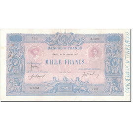 France, 1000 Francs, 1 000 F 1889-1926 ''Bleu et Rose'', 1917-01-24, VF(30-35)
