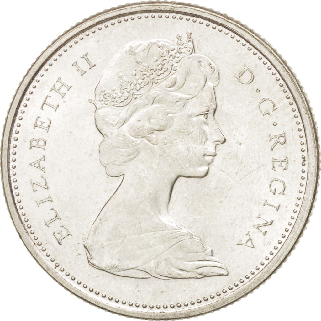 CANADA, 25 Cents, 1967, Royal Canadian Mint, KM #68, MS(60-62), Silver, 23.8,...