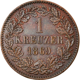 Coin, German States, BADEN, Friedrich I, Kreuzer, 1869, AU(55-58), Copper