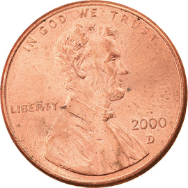Coin, United States, Lincoln Cent, Cent, 2000, U.S. Mint, Denver, AU(55-58)