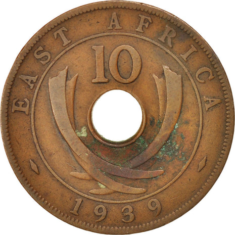 Coin, EAST AFRICA, George VI, 10 Cents, 1939, EF(40-45), Bronze, KM:26.1