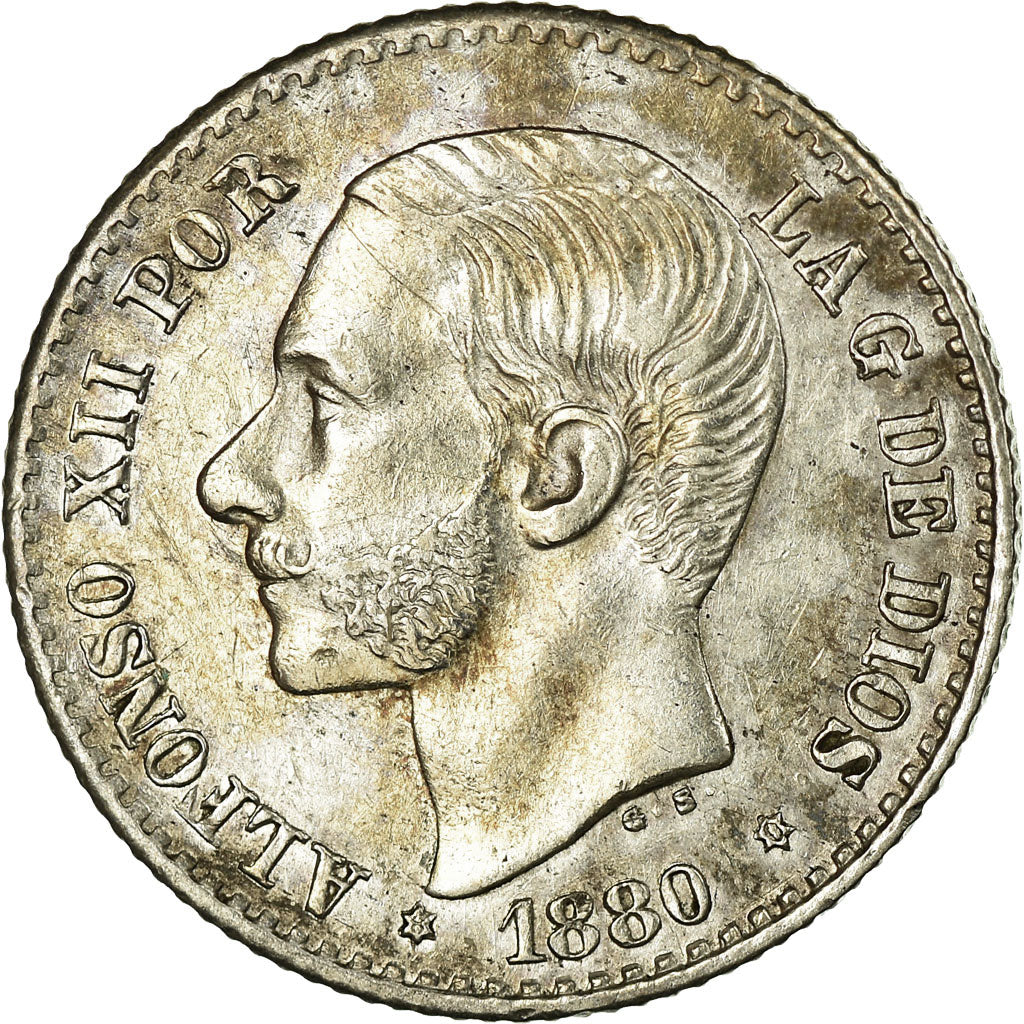 Coin, Spain, Alfonso XII, 50 Centimos, 1880, MS(60-62), Silver, KM:685