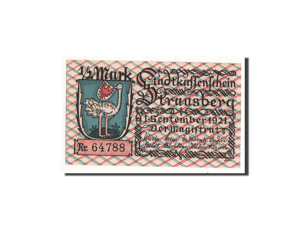 Germany Strausberg 1/2 Mark 1921 1921-09-01 UNC(65-70) 64788 Mehl:1281.1