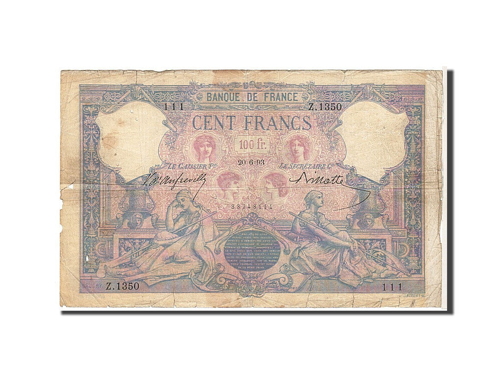 France, 100 Francs, 100 F 1888-1909 ''Bleu et Rose'', 1893, KM #65b,...
