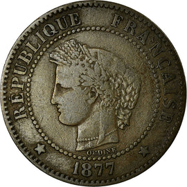 Coin, France, Cérès, 2 Centimes, 1877, Paris, VF(30-35), Bronze, KM:827.1