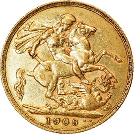 Coin, Great Britain, Edward VII, Sovereign, 1909, AU(55-58), Gold, KM:805