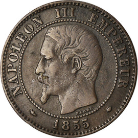 Coin, France, Napoleon III, 2 Centimes, 1855, Marseille, VF(30-35)
