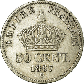 Coin, France, 50 Centimes, 1867, Strasbourg, EF(40-45), Silver