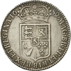 Great Britain, William and Mary, 1/2 Crown, 1689, EF(40-45), Silver, KM:472.1