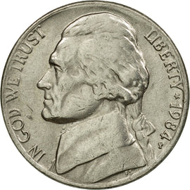 Coin, United States, Jefferson Nickel, 5 Cents, 1984, U.S. Mint, Philadelphia