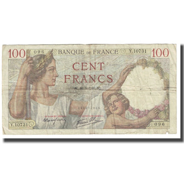 France, 100 Francs, 1940, P. Rousseau and R. Favre-Gilly, 1940-05-16, VF(30-35)