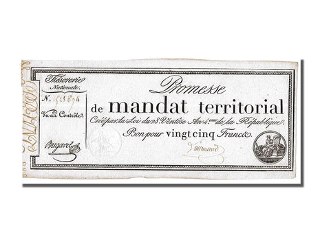 Banknote, France, 25 Francs, 1796, Bugarel, UNC(63), KM:A83a, Lafaurie:196