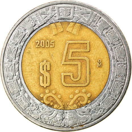 Coin, Mexico, 5 Pesos, 2005, Mexico City, EF(40-45), Bi-Metallic, KM:605
