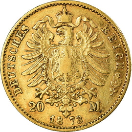 Coin, German States, BAVARIA, Ludwig II, 20 Mark, 1873, Munich, VF(30-35), Gold
