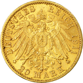 Coin, German States, BADEN, Friedrich II, 20 Mark, 1911, Stuttgart, AU(55-58)