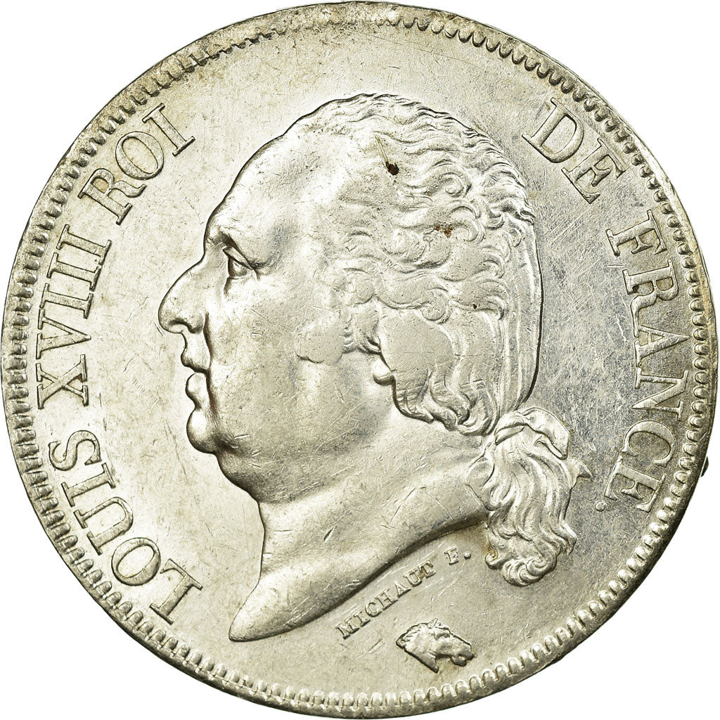 Coin, France, Louis XVIII, Louis XVIII, 5 Francs, 1822, Paris, AU(55-58)