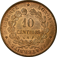 Coin, France, Cérès, 10 Centimes, 1888, Paris, MS(60-62), Bronze, KM:815.1