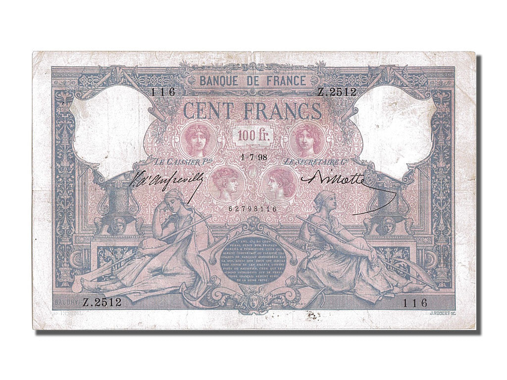 France, 100 Francs, 100 F 1888-1909 ''Bleu et Rose'', 1898, KM #65b,...