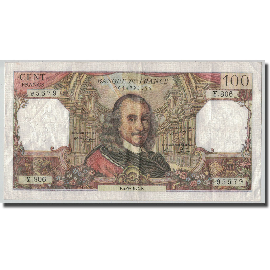 France, 100 Francs Corneille, 1974-07-04, VF(30-35), Fayette:65.46, KM:149d