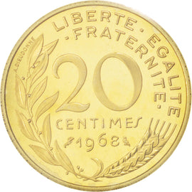 Coin, France, 20 Centimes, 1968, MS(65-70), Aluminum-Bronze, KM:P395