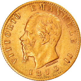 Coin, Italy, Vittorio Emanuele II, 20 Lire, 1873, Milan, EF(40-45), Gold