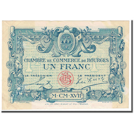 France, Bourges, 1 Franc, 1917, Chambre de Commerce, EF(40-45), Pirot:32-9